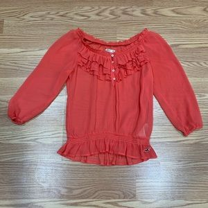 Hollister   Sheer Coral Ruffle Blouse 3/4 Sleeve M